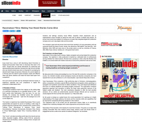 "Razzmatazz Films featured in the Silicon India's ""10 Most Promising Corporate Video Production Companies – 2020"""